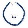 Violet Blue Glass Bead Necklace & Drop Earring Set In Silver Metal - 38cm L/ 4cm Ext