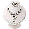 Bridal Y-Shape Ivory Faux Pearl Diamante Necklace & Stud Earring Set In Black Metal