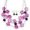 3 Strand Purple/ Lavender Shell & Bead Wire Necklace & Drop Earrings Set In Silver Plating