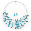 Turquoise Stone & Silver Metal Bead Multistrand Necklace & Drop Earrings Set