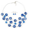 3 Strand Blue Shell & Bead Wire Necklace & Drop Earrings Set In Silver Plating