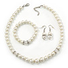 White Simulated Glass Pearl Necklace, Flex Bracelet & Drop Earrings Set With Diamante Rings - 38cm Length