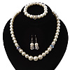 White Glass Pearl Necklace, Flex Bracelet & Drop Earrings Set With Diamante Rings - 38cm Length