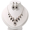 Black/Clear Swarovski Crystal 'Leaf' Necklace And Drop Earring Set In Silver Plated Metal