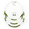 Green/Olive/Hematite Bead Multistrand Floating Necklace & Drop Earrings Set In Silver Plating -