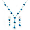 Delicate Y-Shape Blue Rose Necklace & Drop Earring Set