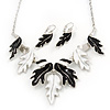 Black/White Enamel 'Leaf' Necklace & Drop Earrings Set In Silver Plating - 40cm Length/ 6cm Extension