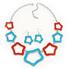 Light Blue/ Coral Enamel 'Star' Necklace & Drop Earrings Set In Silver Plating - 38cm Length/ 6cm Extension