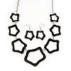 Black Enamel 'Star' Necklace & Drop Earrings Set In Silver Plating - 38cm Length/ 6cm Extension