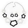 Black/White Enamel 'Star' Necklace & Drop Earrings Set In Silver Plating - 38cm Length/ 6cm Extension