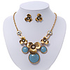Burn Gold Diamante 'Flower' Necklace With Blue Stones & Stud Earrings Set - 42cm Length/ 6cm Extension