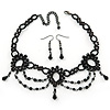 Victorian/ Gothic/ Burlesque Black Bead Choker And Earrings Set