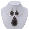 Large Black Oval Medallion Flex Wire Necklace & Earrings Set In Silver Plating - Adjustable
