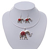 Silver Plated Flex Wire 'Elephant' Pendant Necklace & Drop Earrings Set With Coral Red Stone - Adjustable