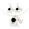 Silver Plated Flex Wire 'Elephant' Pendant Necklace & Drop Earrings Set With Black Stone - Adjustable