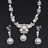 Bridal Swarovski Crystal/Simulated Pearl Bib Necklace & Drop Earrings Set In Silver Plating - 46cm Length/ 5cm Extension