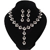 Bridal Simulated Pearl/Crystal Y-Necklace & Drop Earring Set In Silver Metal - 44cm Length/5cm Extension