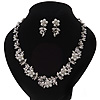 Bridal &#039;Flower&#039; Pearl/Crystal Necklace &amp; Drop Earring Set In Silver Metal - 46cm Length/6cm Extension)