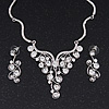 Swarovski Crystal Bib Necklace & Drop Earrings Set In Silver Plating - 44cm Length/ 6cm Extension