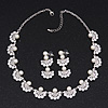 Luxurious Bridal Pearl/Crystal Necklace & Drop Earring Set In Silver Metal - 44cm Length/5cm Extension)