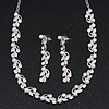 Classic Bridal Pearl/Crystal Necklace & Drop Earring Set In Silver Metal - 44cm Length/5cm Extension