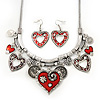Burn Silver Hammered Charm ' Red Heart' Necklace & Drop Earrings Set - 38cm Length/6cm Extension