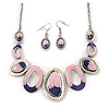 Pink/Purple Enamel Oval Necklace &amp; Drop Earrings Set In Burn Silver - 38cm Length/ 5cm Extension