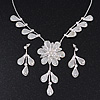 Delicate Bridal Diamante Leaf&Flower Mesh 'Y'-Necklace & Drop Earrings Set In Silver Plating - 38cm Length/ 5cm Extension