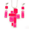 Hot Pink 'Summer Shapes' Necklace & Drop Earrings Set In Matte Silver Plating - 40cm Length/ 7cm Extension