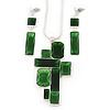 Leaf Green 'Summer Shapes' Necklace & Drop Earrings Set In Matte Silver Plating - 40cm Length/ 7cm Extension