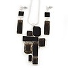 Midnight Black &#039;Summer Shapes&#039; Necklace &amp; Drop Earrings Set In Matte Silver Plating - 40cm Length/ 7cm Extension