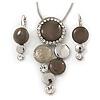 Rhodium Plated Light Grey Enamel, Crystal 'Multi Circle' Pendant & Drop Earrings Set - 38cm Length/ 5cm Extension