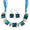 Teal Enamel Square Station Cotton Cords Necklace &amp; Drop Earrings In Rhodium Plating Set - 36cm Length/ 6cm Extension