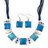 Light Blue Enamel Square Station Cotton Cords Necklace & Drop Earrings In Rhodium Plating Set - 36cm Length/ 6cm Extension