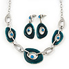 Teal Green Enamel Oval Geometric Chain Necklace &amp; Drop Earrings Set In Rhodium Plating - 38cm Length/ 6cm Extension