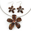 Brown Enamel Diamante &#039;Flower&#039; Wire Necklace &amp; Drop Earrings Set In Silver Plating - 38cm Length/ 5cm Extension