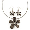 Grey Enamel Diamante 'Flower' Wire Necklace & Drop Earrings Set In Silver Plating - 38cm Length/ 5cm Extension