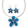 Sky Blue Enamel Diamante 'Flower' Wire Necklace & Drop Earrings Set In Silver Plating - 38cm Length/ 5cm Extension