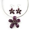 Purple Enamel Diamante 'Flower' Wire Necklace & Drop Earrings Set In Silver Plating - 38cm Length/ 5cm Extension