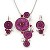 Magenta &#039;Floral Circles&#039; Pendant Necklace &amp; Drop Earrings Set In Rhodium Plating - 36cm Length/ 6cm Extension