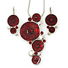 Burgundy Enamel 'Floral Circles' Pendant With Silver Tone Snake Chain & Drop Earrings Set - 36cm Length/ 6cm Extension