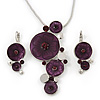 Deep Purple &#039;Floral Circles&#039; Pendant Necklace &amp; Drop Earrings Set In Rhodium Plating - 36cm Length/ 6cm Extension