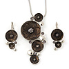 Slate Grey Enamel 'Floral Circles' Pendant With Silver Tone Snake Chain & Drop Earrings Set - 36cm Length/ 6cm Extension