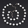 White/Black Simulated Glass Pearl Necklace & Bracelet Set In Silver Plating - 38cm Length/ 4cm Extension