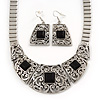 Ethnic Silver Tone Filigree, Black Glass Stone Necklace With T-Bar Closure & Drop Earrings Set - 40cm Length