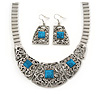 Ethnic Silver Tone Filigree, Turquoise Stone Necklace With T-Bar Closure & Drop Earrings Set - 40cm Length