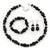 Black Glass/Crystal Bead Necklace, Flex Bracelet & Drop Earrings Set In Silver Plating - 44cm Length/ 5cm Extension