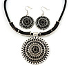 Ethnic Black Enamel Medallion Pendant Necklace On Leather Cord & Drop Earrings Set In Silver Plating - 40cm Length/ 7cm Extension