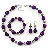 Purple/Violet Glass/Crystal Bead Necklace, Flex Bracelet & Drop Earrings Set In Silver Plating - 44cm Length/ 5cm Extension