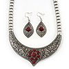 Ethnic Burn Silver Hammered, Red Ceramic Stone Necklace With T-Bar Closure & Teardrop Earrings Set - 42cm Length